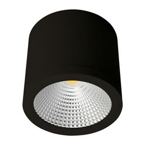Cylindrical 240V 25W LED Ceiling Light - Black Finish / Warm White LED