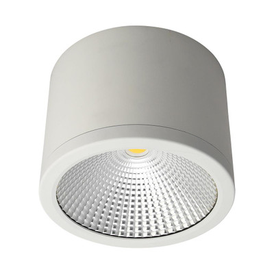 Cylindrical 240V 35W LED Ceiling Light - White Finish / Warm White LED