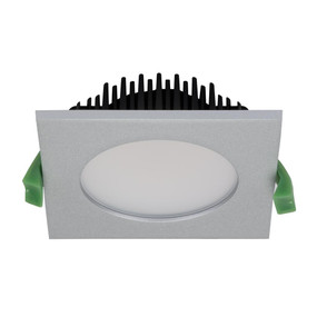 SPLASH Square 13W Splash Proof LED Downlight - Silver Frame / White LED