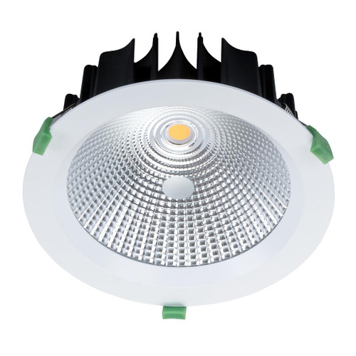 Round 35W Dimmable LED Downlight - White Frame / Warm White LED