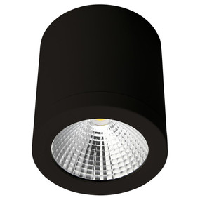 Cylindrical 240V 13W LED Ceiling Light - Black Finish / White LED