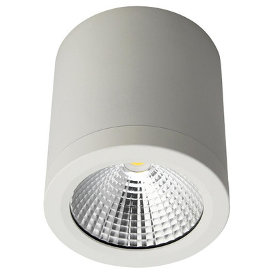 Cylindrical 240V 13W LED Ceiling Light - White Finish / White LED