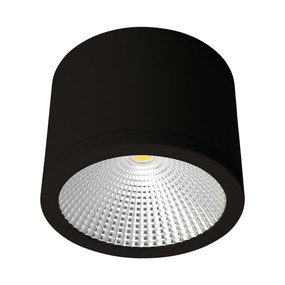 Cylindrical 240V 35W LED Ceiling Light - Black Finish / White LED
