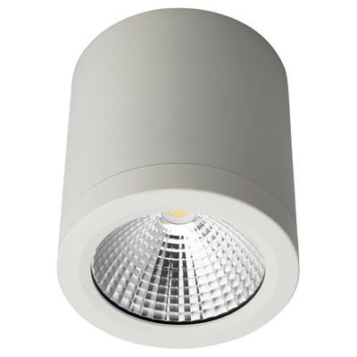 Cylindrical 240V 13W LED Ceiling Light - White Finish / Warm White LED