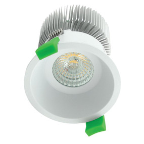 Round 10W Deepset LED Downlight - White Frame / Warm White LED