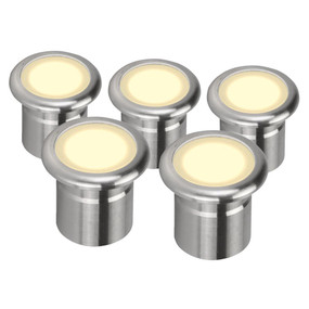 Five Pack 12V 3W LED Deck Lights - Stainless Steel Finish / Warm White LED