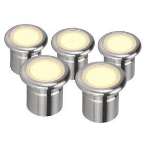 Five Pack 12V 3W LED Deck Lights - Stainless Steel Finish / Warm White LED