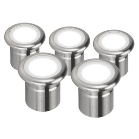 Five Pack 12V 3W LED Deck Lights - Stainless Steel Finish / White LED