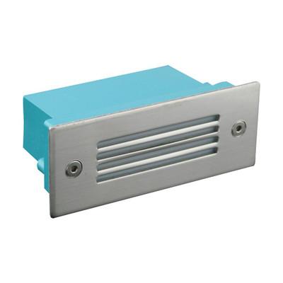 Mini Rectangular 240V 1W Recessed LED Steplight - Stainless Steel Grille / White LED