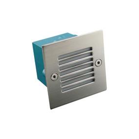 Mini Square 12V 0.8W Recessed LED Steplight - Stainless Steel Grille / White LED
