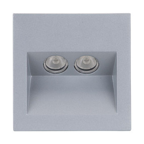 Square 2W Recessed Steplight - Silver Frame / White LED