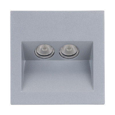 Square 2W Recessed Steplight - Silver Frame / Warm White LED