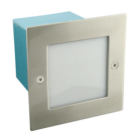 Maxi Square 12V 1.5W Recessed LED Steplight - Stainless Steel Fascia / White LED