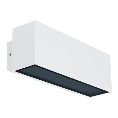 240V 12W Two Way LED Wall Light - White Finish / Warm White LED