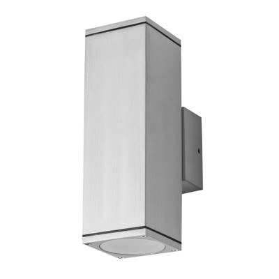 Rectangular 240V 6W Two Way LED Wall Light - Anodised Finish / White LED
