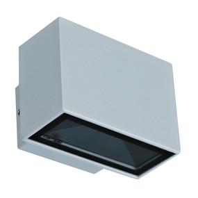 240V 6W Two Way LED Wall Light - Silver Finish / Warm White LED