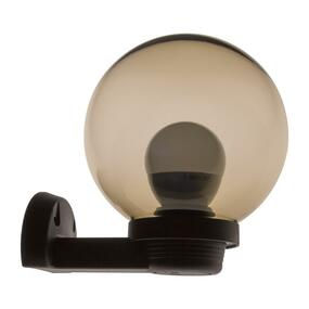 200mm Sphere & Arm 240V Polycarbonate Wall Light - Black Finish & Smoke Sphere / E27