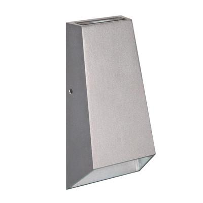 Slimline 240V 6W Two Way LED Wall Light - Silver Finish / White LED