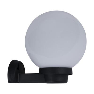 200mm Sphere & Arm 240V Polycarbonate Wall Light - Black Finish & Opal Sphere / E27