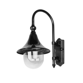 Monaco Curved Arm Downward Wall Light - Black Finish / E27