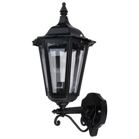 Baroque Upward Wall Light - B22 Black Finish