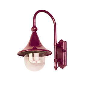 Monaco Curved Arm Downward Wall Light - Burgundy Finish / E27