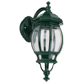 Vienna Curved Arm Downward Wall Light - Green Finish / B22