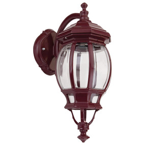 Vienna Curved Arm Downward Wall Light - Burgundy Finish / B22