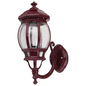 Vienna Curved Arm Upward Wall Light - Burgundy Finish / B22