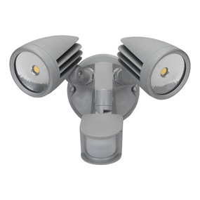 Twin Head 30W LED Spotlight with Sensor - Silver Finish / White LED