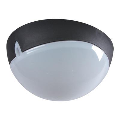 Small Round 240V Polycarbonate Ceiling Light - Black Trim / E27