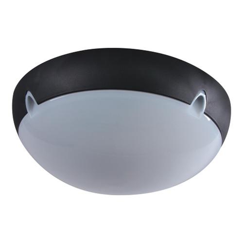 Medium Round 240V Polycarbonate Ceiling Light - Black Trim / E27