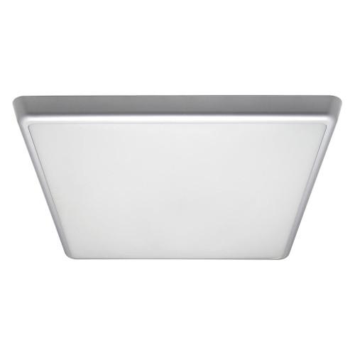Square 240V 35W 40cm Slimline LED Ceiling Light - Silver Frame / Warm White LED
