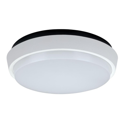 Round 30W Splashproof LED Ceiling Light - Satin White Trim / Warm White LED