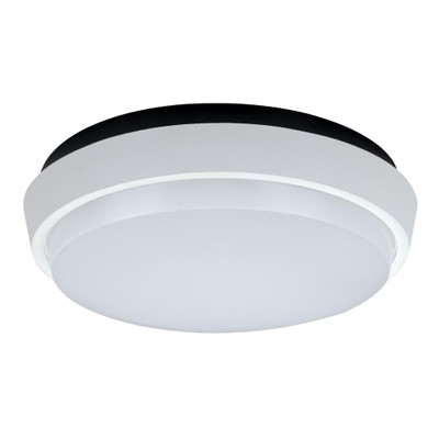 Round 20W Splashproof LED Ceiling Light - Satin White Trim / White LED
