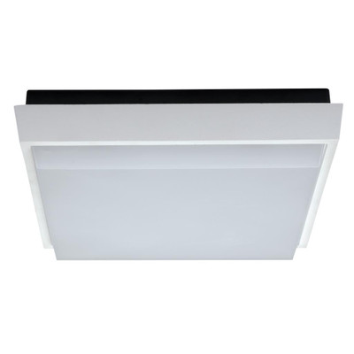 Square 9W Splashproof LED Ceiling Light - Satin White Trim / White LED