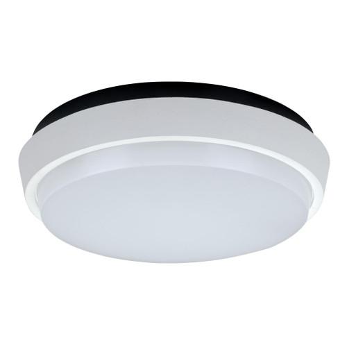 Round 30W Splashproof LED Ceiling Light - Satin White Trim / White LED