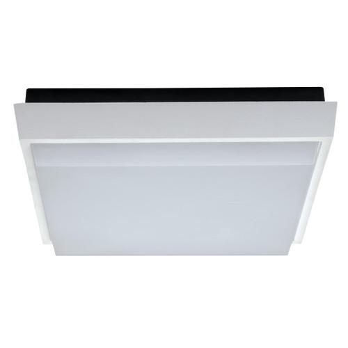 Square 20W Splashproof LED Ceiling Light - Satin White Trim / White LED