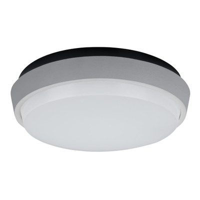 Round 9W Splashproof LED Ceiling Light - Silver Trim / White LED