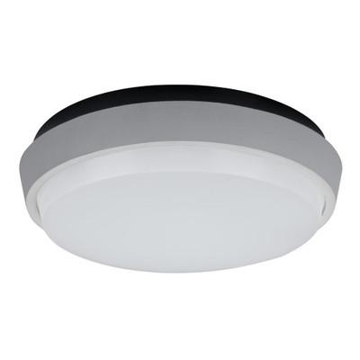 Round 9W Splashproof LED Ceiling Light - Silver Trim / Warm White LED