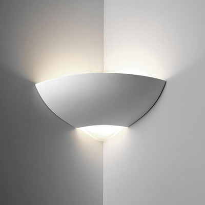 Ceramic Corner Wall Light - Raw / E27