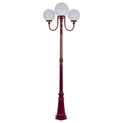 Lisbon Triple 25cm Spheres Curved Arms Tall Post Light - Burgundy Finish / E27