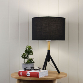 Contemporary Table Lamp Complete Black