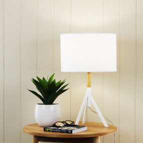 Contemporary Table Lamp Complete Antique White