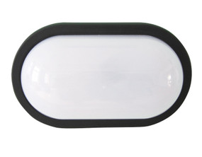 Wall Light - LED 8W 4000K IP54 Oval Black Double Insulated