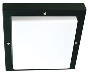 Vandal Resistant Wall or Ceiling Light - 240V Marine Grade E27 60W IP65 IK10 24cm Black