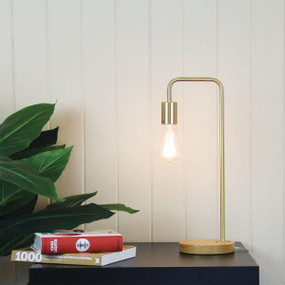 Linear Table Lamp Base Teak with Brushed Brass Arm