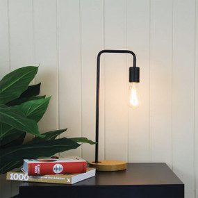 Linear Table Lamp Base Teak with Black Arm