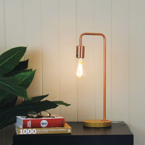 Linear Table Lamp Base Teak with Copper Arm