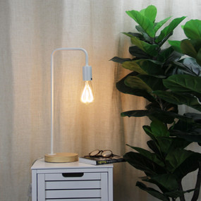 Linear Table Lamp Base Teak with White Arm